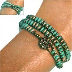 SuperDuo Turquoise Apollo Zippy Wrap Bracelet | SuperDuo Zippy Bracelet Kits