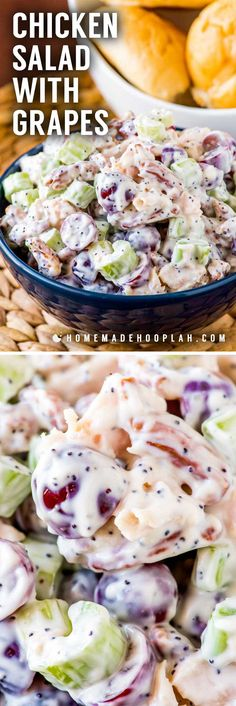 Chicken Salad with Grapes Chicken Salad with Grapes! This sweeter twist on chicken salad with grapes, pecans, celery, poppy seeds, and hints of lemon and honey is perfect as a side dish or on a sandwich! Side Dish Recipes, Lunch Recipes, Vegetarian Recipes, Cooking Recipes, Healthy Recipes, Recipes Dinner, Crockpot Recipes, Steak Recipes, Dessert Recipes