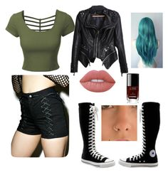 """""""My Wrestling Outfit"""" by calumisnothood ❤ liked on Polyvore featuring Tripp, LE3NO, Lime Crime, Converse and Chanel"""
