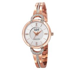This glistening ladies Burgi watch is sure to impress. The layered textured dial features genuine diamond markers while the bracelet is accented with crystals. With a Swiss movement and a stainless steel built, this watch is sure to deliver.