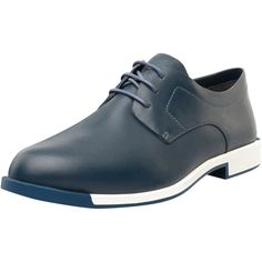 Camper Women's Bowie Leather Derby - Blue - Size 37 (1.340.710 IDR) ❤ liked on Polyvore featuring shoes, oxfords, blue, blue shoes, blue oxford, camper shoes, laced shoes and low heel shoes