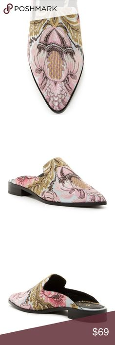 """Brocade Mule Pointed toe - Solid  brocade construction  Loafer design - Slip-on- Approx. 7/8"""" heel, - Imported Materials manmade upper, leather lining, manmade sole  39=8.5 Shellys London Shoes Mules & Clogs"""