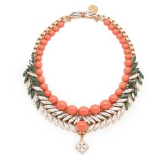Ellen Conde Bettie Coral Necklace ($686) ❤ liked on Polyvore featuring jewelry, necklaces, coral, green jewelry, clear crystal jewelry, clear crystal necklace, handcrafted necklaces and clear necklace
