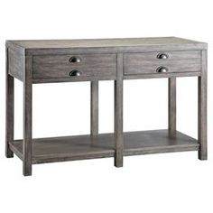 "Two-drawer console table in weathered grey with an open bottom shelf and antique-style cup pulls.    Product: Console tableConstruction Material: Solid wood and birch veneersColor: Weathered grayFeatures: Plank style detailing on topTwo drawersOne bottom shelfDimensions: 30"" H x 48"" W x 19"" D"