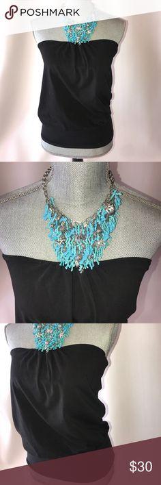 Victoria's Secret tube top with necklace Black Victoria's Secret tube top. Comes with blue necklace and matching earrings Victoria's Secret Tops