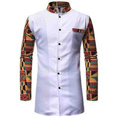 African Clothing Two Piece Suit White Printed Dashiki Set for Men Long Sleeve Shirt Tops and Pants Set Bazin Riche Africa Outfit Latest African Wear For Men, African Shirts For Men, African Attire For Men, African Clothing For Men, Couples African Outfits, African Dresses Men, Latest African Fashion Dresses, African Men Fashion, Africa Fashion