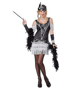 Razzle Dazzle Flapper Womens Costume - dress, headband, gloves