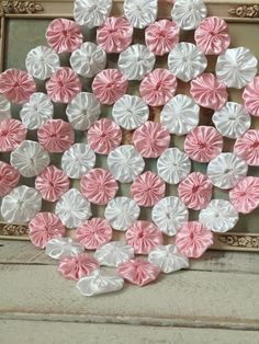 Baby Mini YoYo Quilt Pink & White Satin -Photo Prop Layering - Nursery Room Decor - Basket Filler - Her Crochet Fabric Crafts, Sewing Crafts, Sewing Projects, Diy Crafts, Smocking Patterns, Quilt Patterns, Quilting Designs, Embroidery Designs, Yo Yo Quilt
