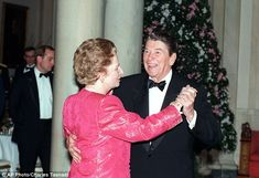 President Reagan and Margaret Thatcher dance during the final state dinner of Reagan's pre...