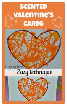 """Blow my heart up"" cards. Use a straw to blow the ink or paint."