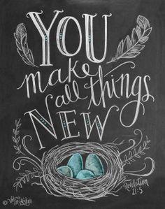 eggs spring scripture easter april chalkboard art Revelation 21:5 Gospel of Peace