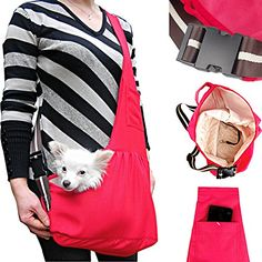 LUXMO Oxford Outward Fashion New Pet Sling-style carrier Pet Dog Cat sling Bag Hot Red Size:M * Visit the image link more details. (This is an affiliate link)