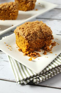 This pumpkin coffee cake had all the right elements to be successful, and it surely was. It had the perfect amount of pumpkin flavor, right amount of moistness, and a generous helping of crumble to top it all off! Also, its super easy to make!