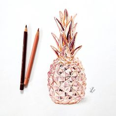 Cinnamon, my absolute favorite Color of the Polychromos, so I had to post this picture. And 's rosegold Pineapple is just :heart_eyes::heart_eyes::heart_eyes: _____ Who doesn't love Rose Gold? Types Of Drawing, Drawing Tips, Drawing Drawing, Drawing Ideas, Pencil Drawings, Art Drawings, Pineapple Drawing, Tech Art, Gold Pineapple