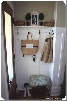 This is like what we'll have in our flat! Also want to put some hooks up and make a little shelf for some shoes