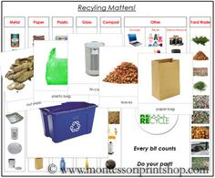 Recycling Matters - Sort and classify a variety of objects for recycling. Includes information cards, a variety of recycling containers, 63 photographic sorting cards, and a control chart. A great addition to your Montessori materials. Montessori Science, Montessori Education, Montessori Classroom, Montessori Materials, Earth Day Activities, Science Activities, Science Ideas, Activity Ideas, Recycling Information