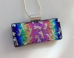 Rainbow Dichroic Silver Dragonfly Pendant Fused by AngelasArtGlass
