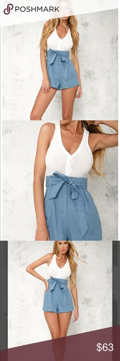 """HELLO MOLLY SWEET THING ROMPER WHITE SOLD OUT ONLINE AUS 8 US 4 Worn twice   The Sweet Thing Romper is a perfect companion to the warm weather! This style has a ribbed knit, button down top and a """"paper bag"""" style tie up waist with denim bottom. Work this style with lace up gladiator flats, a cross body bag and soft, beachy waves!  Cold hand wash only. Model is standard XS and is wearing XS. HELLO MOLLY Other"""