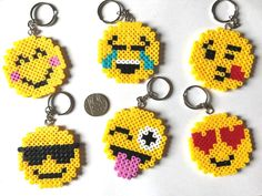 Another key trend and so cute Perler Bead Designs, Perler Bead Templates, Hama Beads Design, Pearler Bead Patterns, Perler Patterns, Perler Bead Emoji, Diy Perler Beads, Perler Bead Art, Pearler Beads