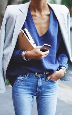 blue accents street style