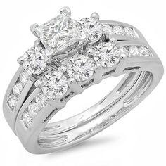 14k White Gold 2ct TDW Diamond Bridal Set (J-K, I1-I2) | Overstock.com Shopping - Top Rated Bridal Sets