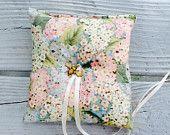 Floral Ring bearer Pillow-hydrangea Print-honey bee charm