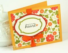 "STAMPS: Fillable Frames Additions 2, Flower Fusion #7, Harvest Berries (available August 15th) Simple Valentine (heart)  INK: Terracotta Tile, Orange Zest, Summer Sunrise, Ripe Avocado, True Black, Tea Dye Duo  PAPER: Vintage Cream, Summer Sunrise, Terracotta Tile  OTHER: Mat Stack 1 die, Layerz Mat Stack 1 die, Orange Zest Ribbon, black pen (America Crafts)  FINISHED SIZE: 4.25"" x 5.5"""