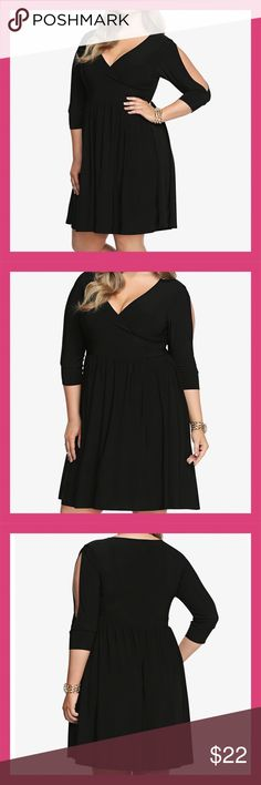 Slit Sleeve Surplice Dress Torrid 2 Brand New Show off a little skin in this sexy LBD with a surplice neckline and slit 3/4 sleeves. This soft and stretchy knit number has a form-fitting bodice with a lightly flared bottom. It's a simply hot look that's ready for a special night out.   This dress is so flattering and comfortable. It has the perfect amount of stretch and fun slit sleeves. Can easily be dressed up or down with accessories.   New with tags, never worn.  Torrid size 2 should fit…