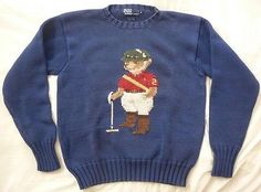 Vintage Polo Bear Ralph Lauren Cotton Sweater S M /Ski P wing 1992 crest flag