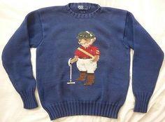 fdbd1e55 Vintage Polo Bear Ralph Lauren Cotton Sweater S M /Ski P wing 1992 crest  flag