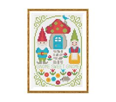 Gnome Sweet Gnome Cross Stitch Pattern PDF Instant Download