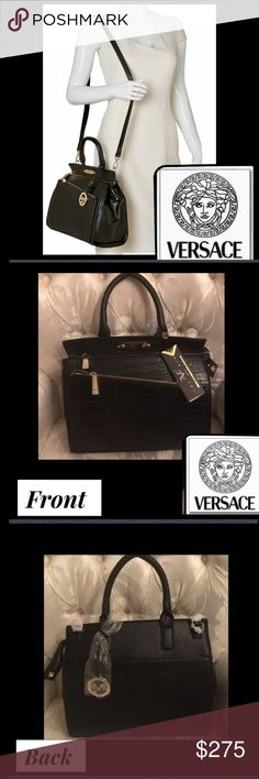 """Versace1969Black Alligator Satchel Authentic VersaceV1969Italia handbags fine leatherFee,fee,fi,fi,fo-fo,fum Look at Molly now here she comes Wearin' her wig,shades2match She's got high-heel shoes & an alligator hatexterior front zip pocket 9x5one exterior back slip pocket magnetic snap8x6one inside zip pocket,two inside slip pocketsMetal logo platedetachable logo ornament Double Rolled handles 5""""drop adj.crossbody strap 23.5"""" drop 12 1/4"""" L x 8 3/4"""" H 5 1/4"""" W2 Zipper pocket frontDust bag…"""