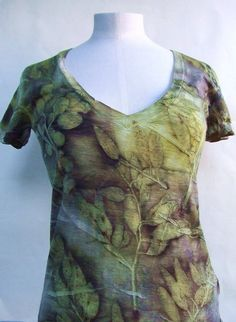 Ecoprinted wool T-shirt eucalyptus natural dyeing by Flextiles