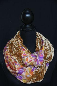 "Silk velvet & satin ""infinity"" scarf. See more on www.etsy.com/shop/SlinkySilk"