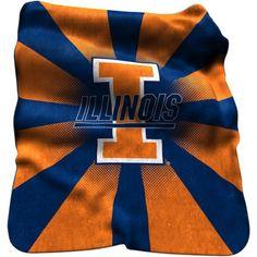 Logo Chair Ncaa Illinois Raschel Throw, Orange