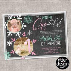 Winter ONEderland Birthday Invitation - Printable