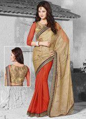 Light Coffee & Dark Orange Color Wrinkle Chiffon Function & Party Wear Sarees : Pallavi Collection YF-33279