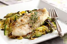 Tilapia with Crispy Zucchini Ribbons
