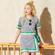 Elf Sack Women Sport Loose Stripes T-shirt Elastic Waist Skirt Suits  elfsack