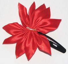 Red ribbon hairclip Red Ribbon, Hair Clips, Tableware, Handmade, Accessories, Red Lace, Hair Rods, Dinnerware, Dishes