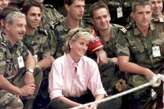 Soldiers' favourite: With French SFOR soldiers in Sarajevo three weeks before she died