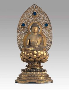 Amida Nyorai, circa 1650, Kyoto, Edo period, 1615-1868, wood, colour, gold leaf bronze, glass, 101 cm high. Elizabeth and Tom Hunter Fund 1997. Art Gallery of South Australia, Adelaide