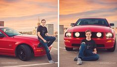 Guy senior portraits taken in Dubuque Iowa by Candid Touch Photography and Design. Senior Session with a mustang.