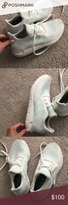 the latest fd707 e2d63 Adidas Tennis Shoes White and teal adidas tennis shoes, size really comfy  and cute. worn twice, great condition adidas Shoes Athletic Shoes