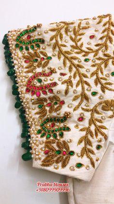 White Blouse Designs, Kids Blouse Designs, Hand Designs, Peacock Embroidery Designs, Hand Embroidery Design Patterns, Designer Blouse Patterns, Kerala Saree Blouse Designs, Wedding Saree Blouse Designs, Hand Work Design