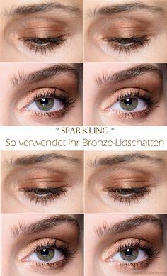 Sparkling Make-up - mit Bronze-Lidschatten und Eyeshadow in Kupfertönen lassen sich sehr edle Smokey Eyes schminken. Die Anleitung im Link!