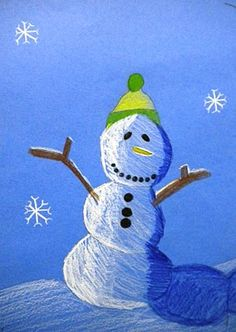Value Snowmen: For the Love of Art: 6th Grade. Oil pastel or color stix on blue.