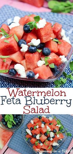 The Best Healthy Watermelon Salad with feta cheese, mint and blueberries recipe. Topped with a honey lime dressing/ vinaigrette. Looking for the perfect clean eating watermelon recipes? This is a simple, beautiful and easy salad for summer parties... perfect red, white and blue food idea for 4th of July Food, Memorial Day or Labor Day. Vegetarian & Gluten Free/ Running in a Skirt #watermelon #feta #blueberry #4thofjuly #memorialday #laborday #fruit #vegetarian