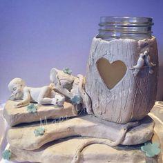 Vasetto vetro fai da te candela vaniglia candle fairy house tronco legno  porcellana fredda fimo gessetto profumato das  cuore uccelli bacio bimbo bimba fiori gessetto idea regalo bomboniera segna tavolo www.mapicreations.it