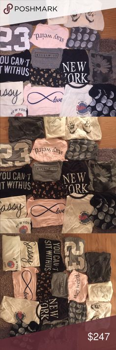 Brandy Melville graphic tshirt bundle Brandy Melville graphic tshirt bundle sold items will be updated in description and pictures and prices will be adjusted accordingly ✨✨ all items are listed individually as well✨✨ Brandy Melville Tops